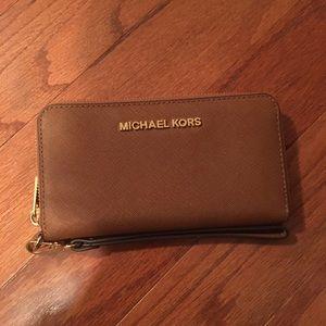Michael Kors brown wristlet wallet